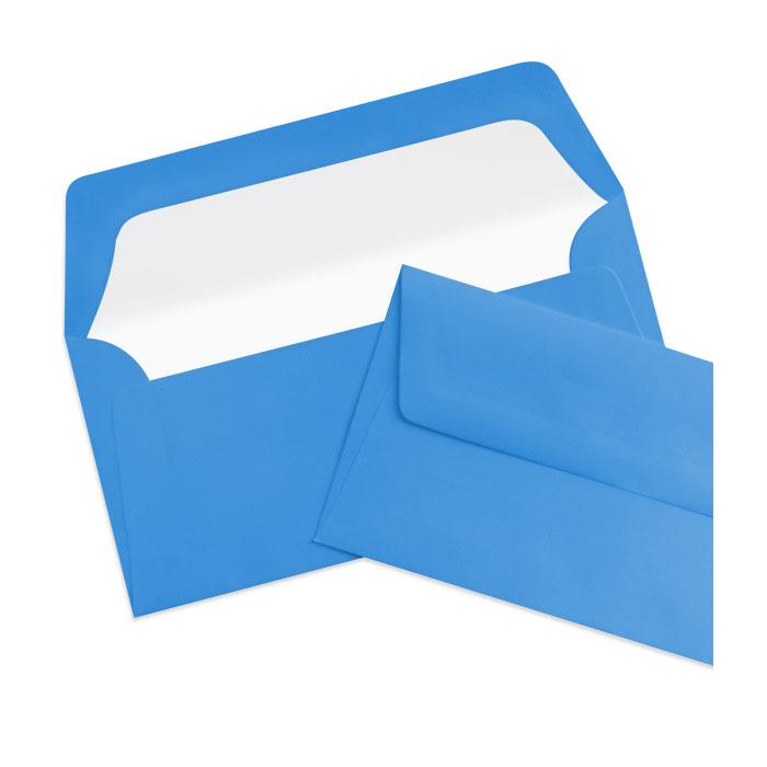 Briefumschlag Seidenfutter Stahlblau (Mittelblau) (220 x 110 mm)
