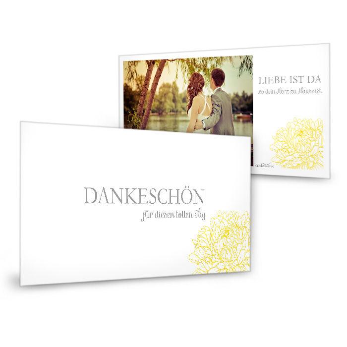 Danksagung zur Hochzeit mit Pfingstrose in Gelb als Postkarte