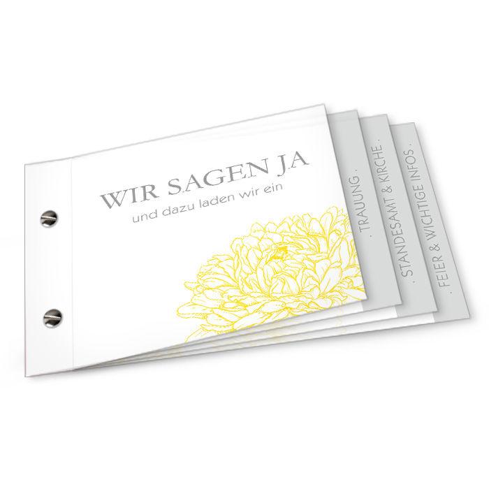 Einladung zur Hochzeit als Booklet mit Pfingstrose in Gelb