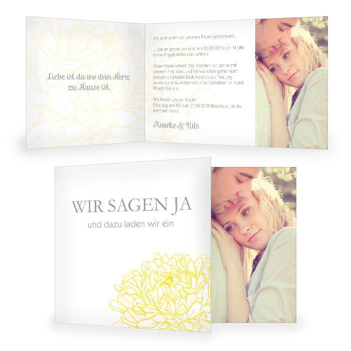 Einladung zur Hochzeit mit Pfingstrose in Gelb und Foto
