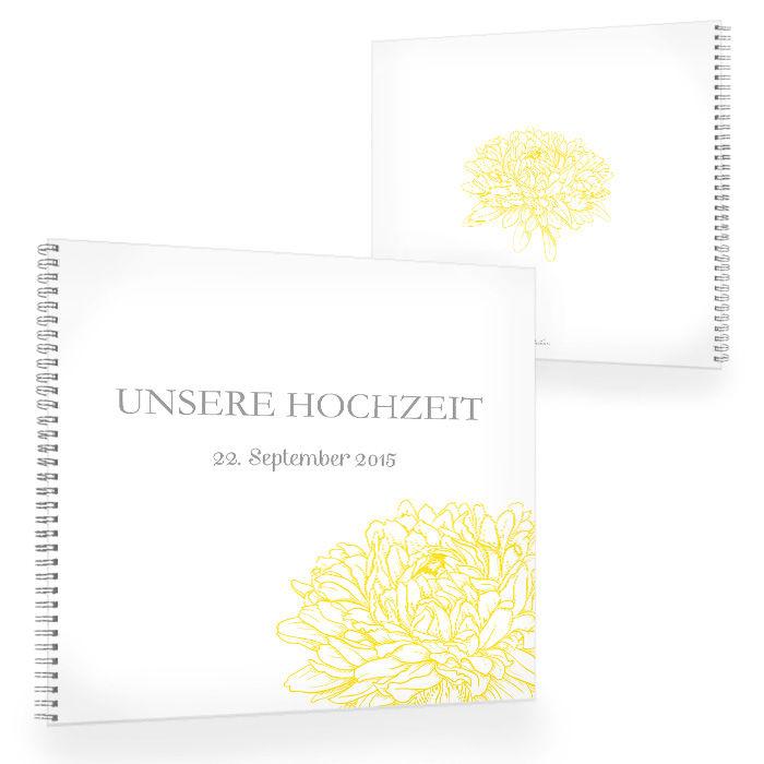Florales Gästebuch zur Hochzeit mit Pfingstrose in Gelb
