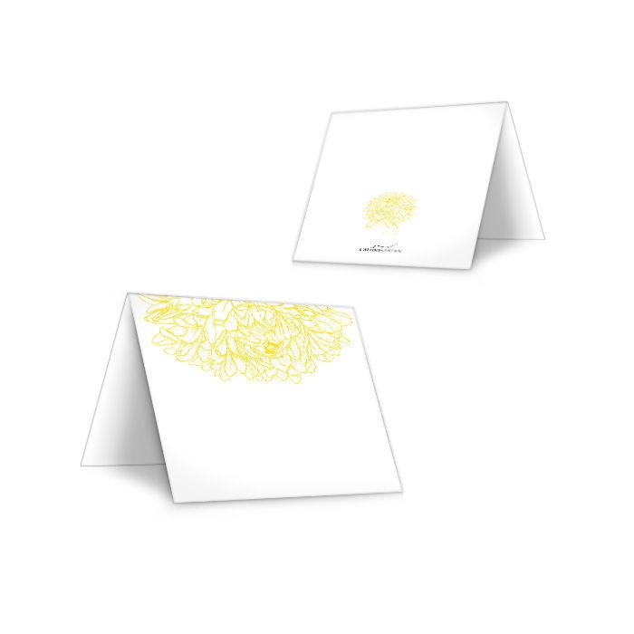 Florale Tischkarte zur Hochzeit mit Pfingstrose in Gelb