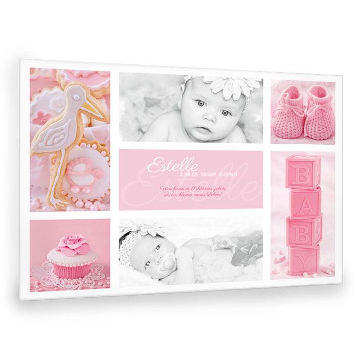 Süße Baby Fotocollage in Rosa mit großen Fotos in 40 x 30 cm