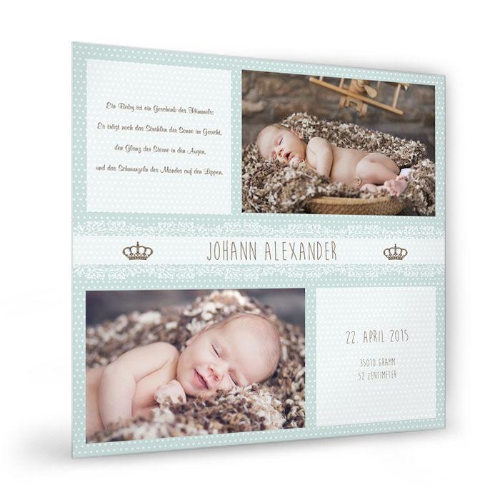 Baby Fotocollage mit Punkten und Krone Minzcreme