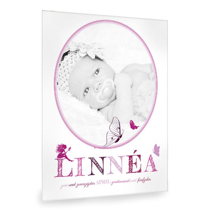 Baby Fotocollage in Pink und Lila mit Fee und Schmetterlingen