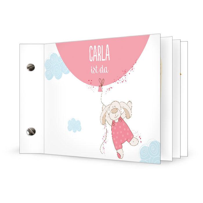 Süße Geburtskarte mit Häschen-Stofftier und Luftballon