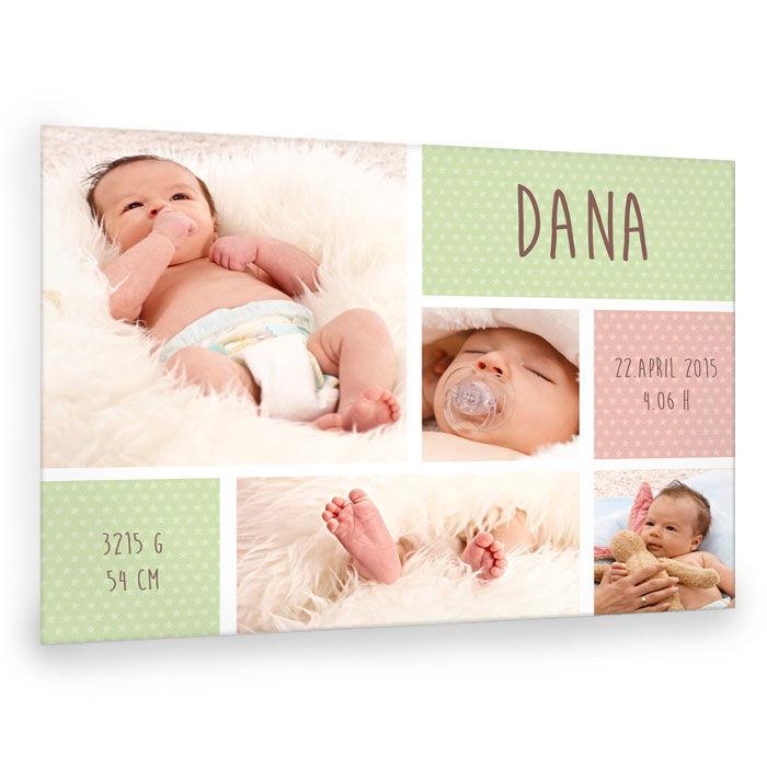 Baby Fotocollage in Hellgrün und Rosa mit Sternen