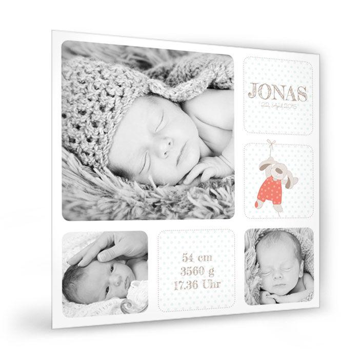 Online selbst gestalten: Baby Fotocollage mit süßem Häschen