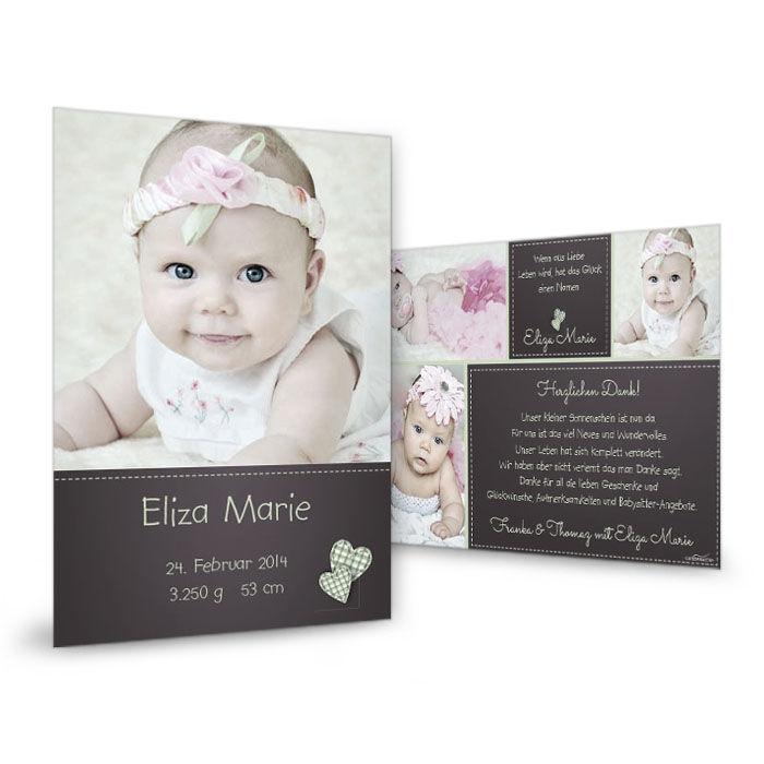 Geburtskarte in Dunkelbraun mit Herzchen und großen Fotos