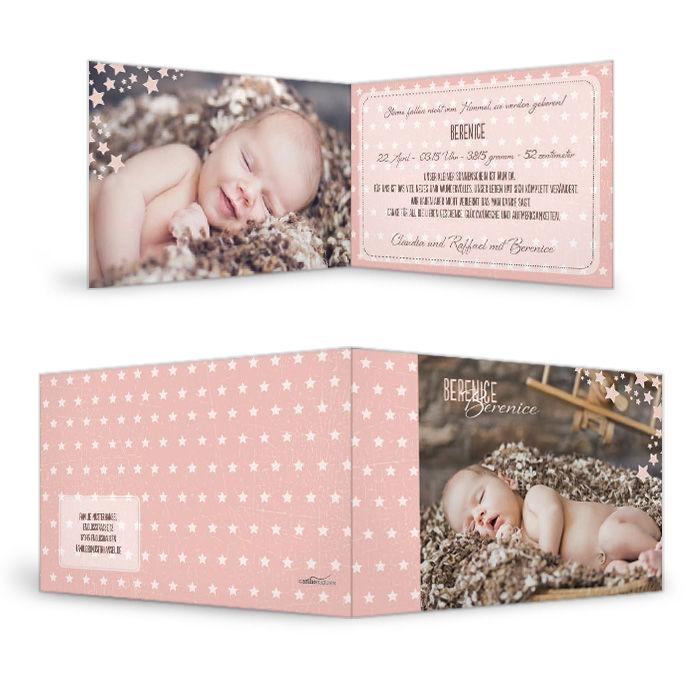 Moderne Geburtskarte in Apricot mit Punkten und großen Fotos