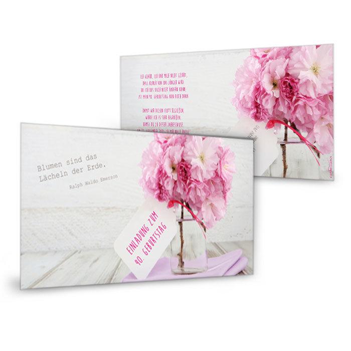 Einladungskarte mit traumhaften Pfingstrosen in Rosa