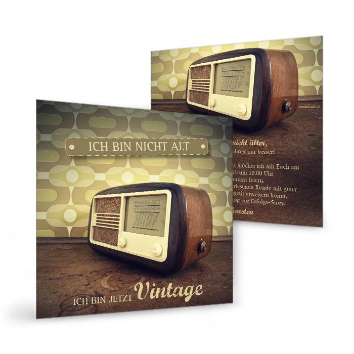 einladungskarte zum geburtstag mit vintage radio. Black Bedroom Furniture Sets. Home Design Ideas