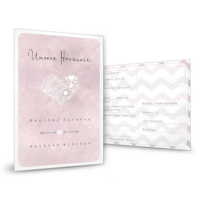 Antwortkarte zur Hochzeitseinladung mit Chevron Stil in Rosa