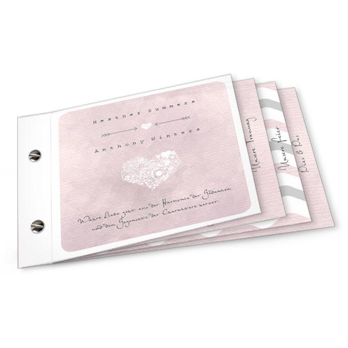 Hochzeitseinladung mit Chevron Muster in Rosa als Booklet