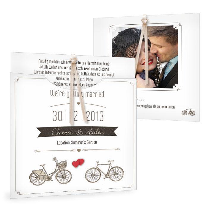 Einladung zur Hochzeit mit Vintage Fahrrad Motiv und Herz