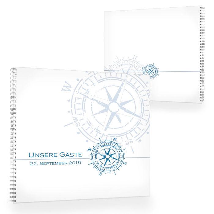 Großes Gästebuch zur maritimen Hochzeit mit Kompass in Blau