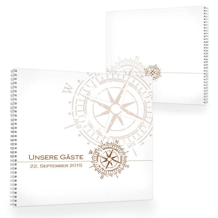 Großes Gästebuch zur maritimen Hochzeit mit Kompass in Braun