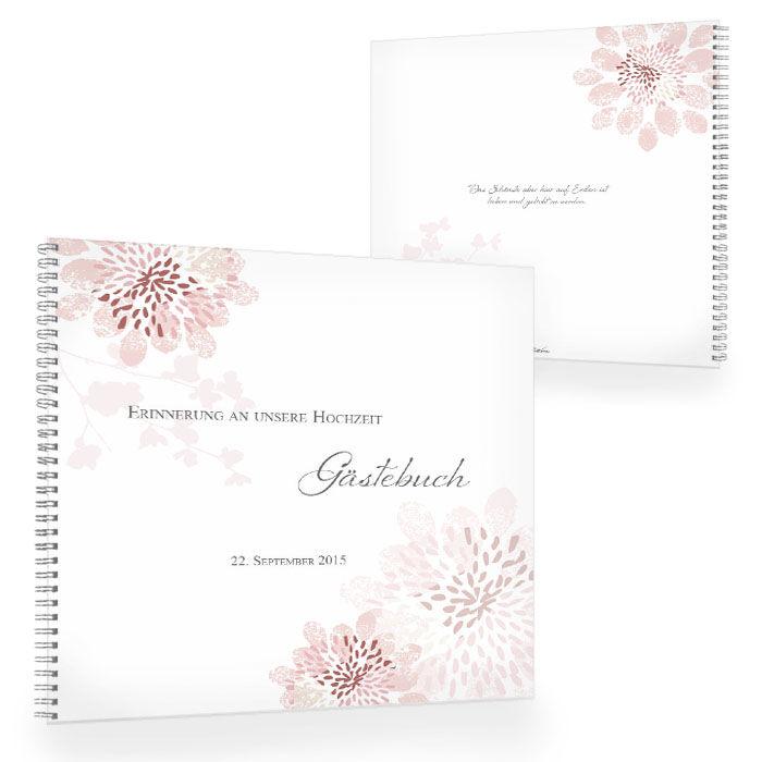 Romantisches Gästebuch in Altrosa mit floralem Muster
