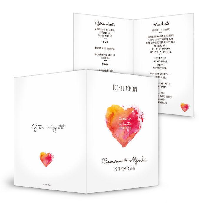 Menükarte zur Hochzeit mit Watercolor Herz in Rot und Orange