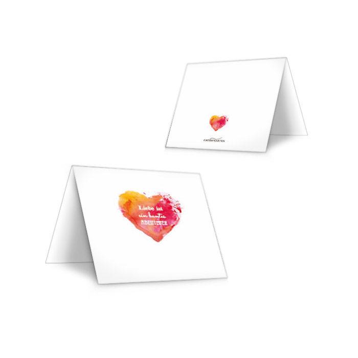 Tischkarten zur Hochzeit mit Watercolor Herz in Rot