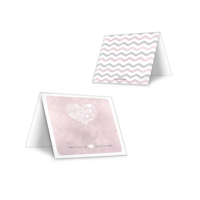 Tischkarte zur Hochzeit im rosa Aquarelldesign mit Herz