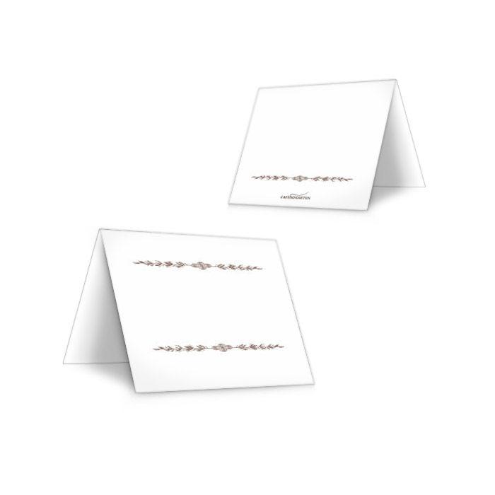 Schlichte Tischkarte zur Hochzeit in Weiß mit Blätterranke
