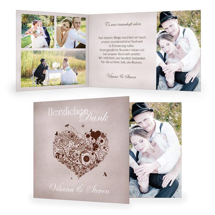 Hochzeitsdanksagung mit floralem Herz in Grau und Braun
