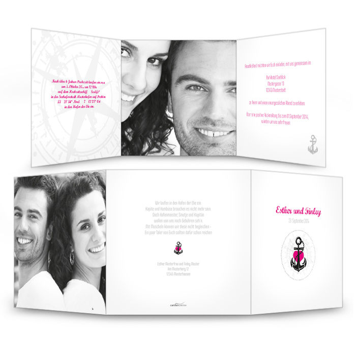 Maritime Einladung zur Hochzeit in Weiß mit Anker in Pink