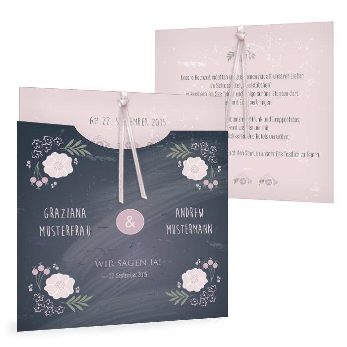 Einladung zur Vintage Hochzeit in Schieferoptik mit Blüten