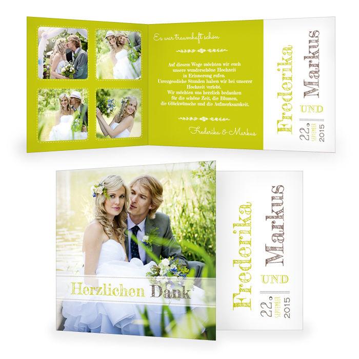 Hochzeitsdanksagung mit großem Foto und cooler Schrift in Grün