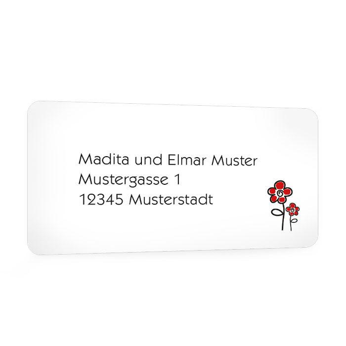 Adressaufkleber für Ihre Hochzeitspost mit roten Blumen