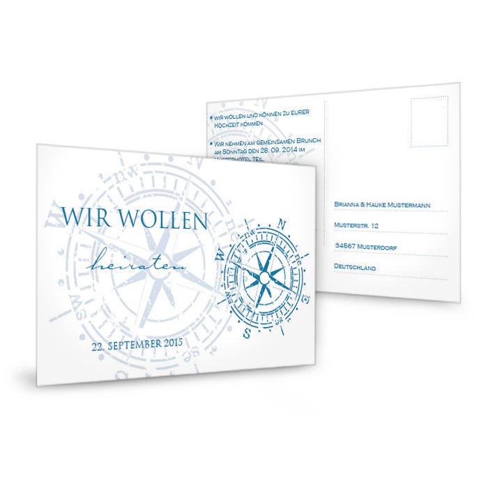 Antwortkarte im maritimen Design mit antikem Kompass in Blau