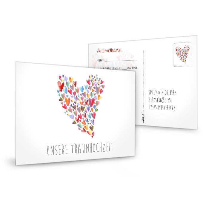 Antwortkarte zur Hochzeitseinladung mit buntem Aquarell Herz
