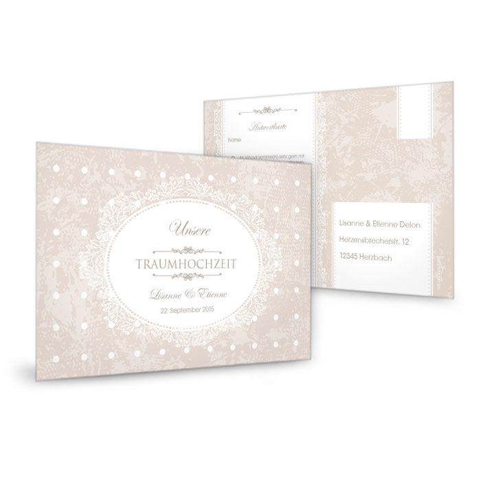 Romantische Antwortkarte zur Hochzeitseinladung mit Punkten