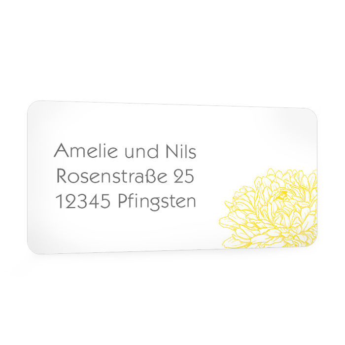 Floraler Adressaufkleber für die Hochzeitspost in Gelb