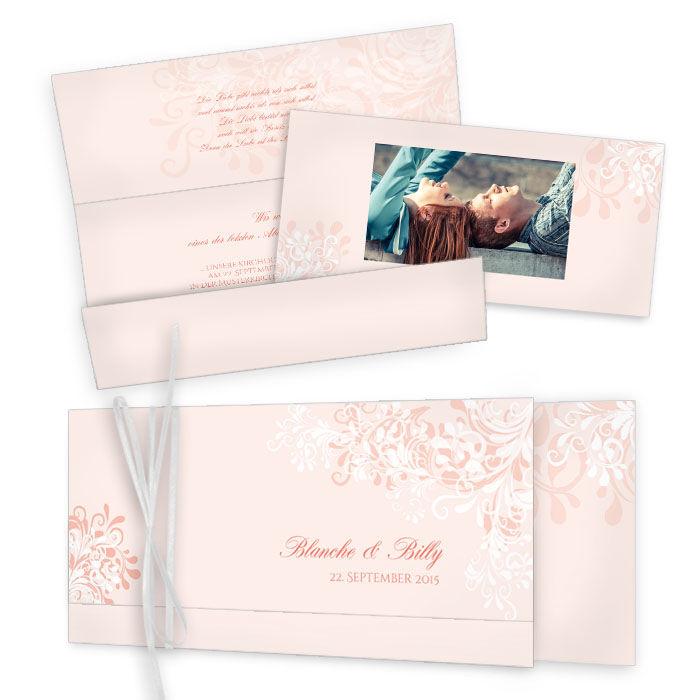 Romantische Hochzeitseinladung mit floralem Design in Rosa