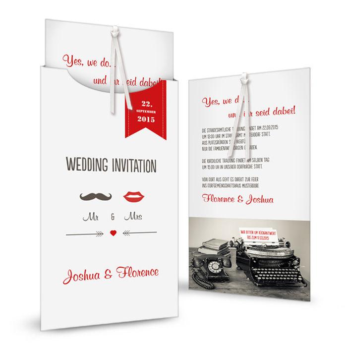 Einladung zur Hochzeit mit Kussmund und Schnurrbart Motiv