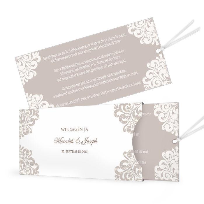 Edle Hochzeitseinladung In Barockem Design Als Einsteckkarte