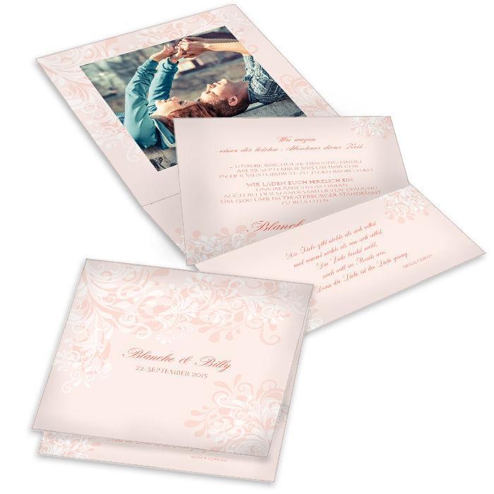 Romantische florale Hochzeitseinladung als Pocket in Rosa