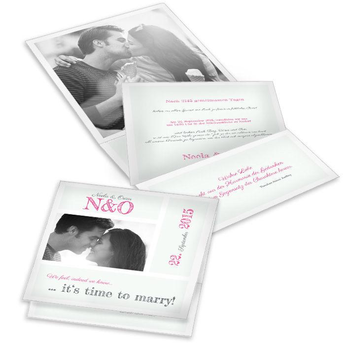 Moderne Hochzeitseinladung in Minz als Pocket mit Foto