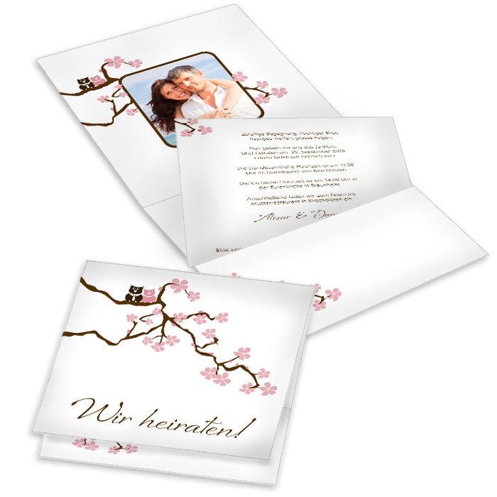 Romantische Hochzeitseinladung mit Kirschzweig und Eulen