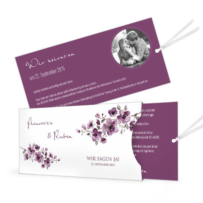 Romantische Einladung Zur Hochzeit Mit Lila Aquarellbluten