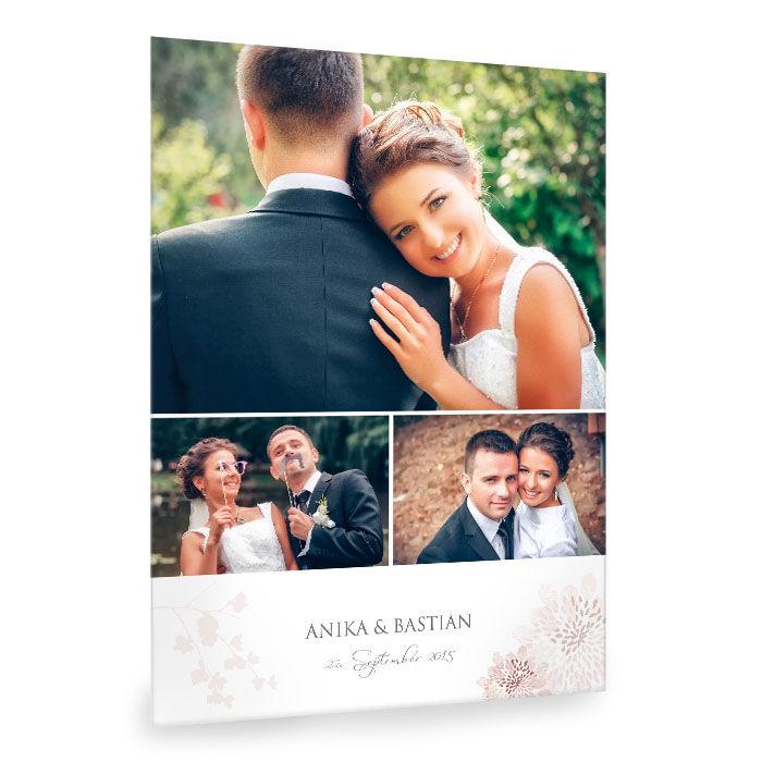 Elegante Hochzeits Fotocollage mit floralem Design in Rosa
