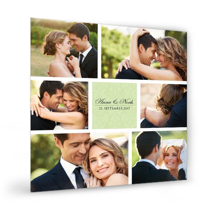 Hochzeits Fotocollage in Hellgrün online selbst gestalten