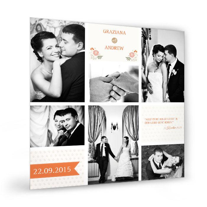 Fotocollage zur Hochzeit im Vintage Design mit Banner und Blüten