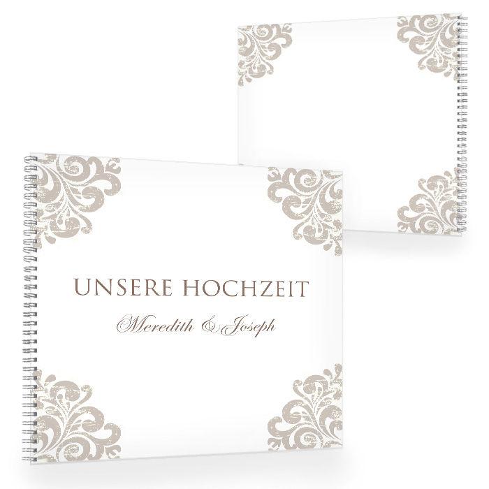 Gästebuch zur Hochzeit mit barockem Design in Taupe - 100seitig