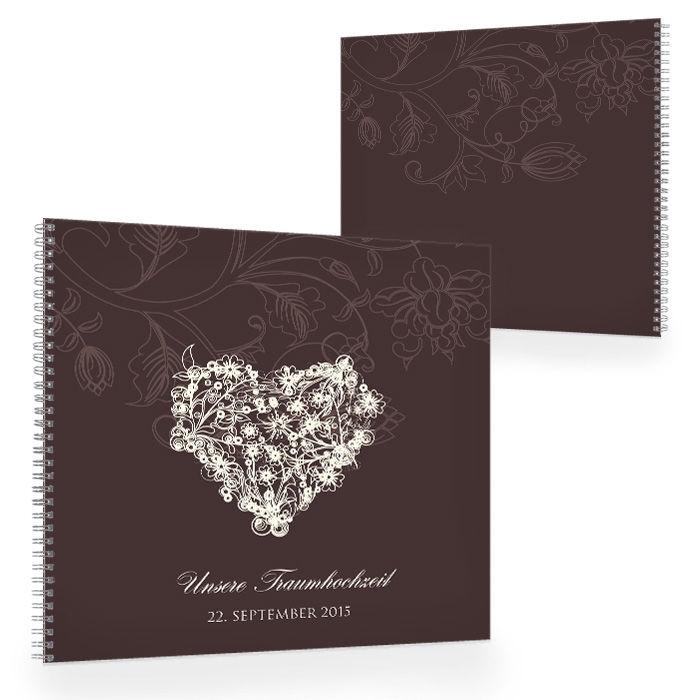 Großes Gästebuch zur Hochzeit mit floralem Herz in Braun