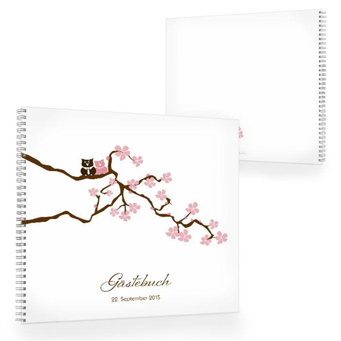 Gästebuch zur Hochzeit mit Kirschblütenzweig und Eulen