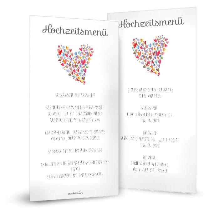 Menükarte zur Hochzeit in Weiß mit bunten Herzen als Postkarte