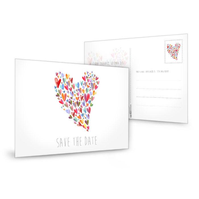 Save the Date Karte in Weiß mit bunten Herzen als Postkarte